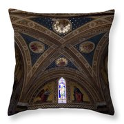 Frescoes Inside The Church At Brolio Throw Pillow