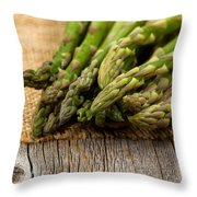 Fresh Asparagus On Napkin And Rustic Wood  Throw Pillow