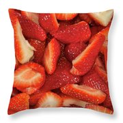 Fresh Cut Strawberries Throw Pillow