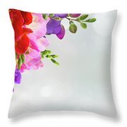 Fresh Freesia Flowers On Blue Throw Pillow