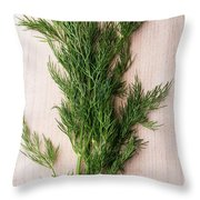 Fresh Green Dill On Wooden Plank Throw Pillow