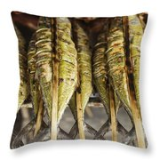 Fresh Grilled Asian Fish In Kep Market Cambodia Throw Pillow