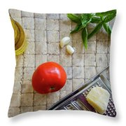 Fresh Italian Cooking Ingredients On Tile Throw Pillow