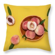 Fresh Juicy Peaches And Green Leaves Throw Pillow