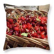 Fresh Picked Cherries In A Wicker Basket In Dolnje Cerovo In The Throw Pillow
