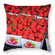 Fresh Picked Strawberries Throw Pillow