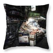 Fresh Produce In A Dark Alley Throw Pillow