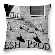 Fresh Produce Signage Black And White Throw Pillow