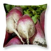 Fresh Radish Harvest. Throw Pillow