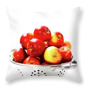 Fresh Red Apples In Metal Colander Throw Pillow