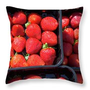 Fresh Ripe Strawberries In Plastic Boxes Throw Pillow