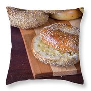 Fresh Sesame Bagel Throw Pillow