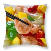 Fresh Shrimp And Peppers On White Serving Plate Ready To Eat Throw Pillow