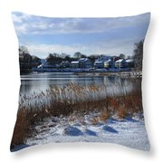 Fresh Snow Along The Creek Throw Pillow