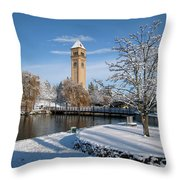 Fresh Snow In Riverfront Park - Spokane Washington Throw Pillow by Daniel Hagerman