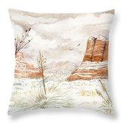 Fresh Snow On Bell Rock Throw Pillow