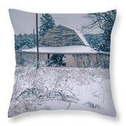 Fresh Snow Sits On The Ground Around An Old Barn Throw Pillow