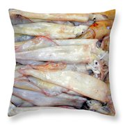 Fresh Squid On A Market Stall Throw Pillow