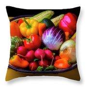 Fresh Vegetables In Lovely Basket Throw Pillow
