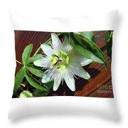 Fresh White Passion Flower  Throw Pillow