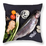 Fresh Whole Raw Fish And Herbs Displayed On Natural Slate Stone  Throw Pillow