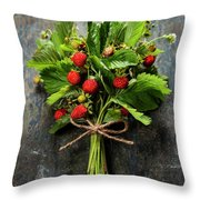 fresh Wild strawberries on wooden background  Throw Pillow