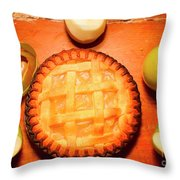 Freshly Baked Pie Surrounded By Apples On Table Throw Pillow