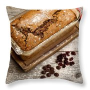 Freshly Baked Zucchini Bread On Rustic Wooden Boards Throw Pillow