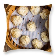 Freshly Cooked Dumplings Inside Of Bamboo Steamer Ready To Eat  Throw Pillow