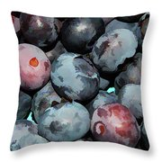 Freshly Picked Blueberries Throw Pillow