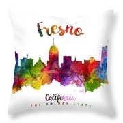 Fresno California Skyline 23 Throw Pillow
