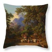 Frey  Johann Jakob 1813 Basel   1865 Frascati  Wedding Procession Of Italian Farmers Throw Pillow