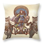 Freya And Her Cat Chariot-garbed Version Throw Pillow