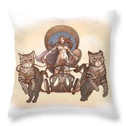 Freya And Her Cat Chariot-nude Version Throw Pillow