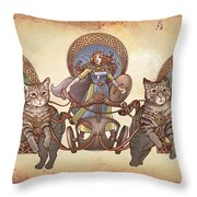 Freya Driving Her Cat Chariot - Triptic Garbed Version Throw Pillow