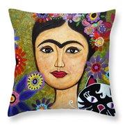 Frida Kahlo And Cat Throw Pillow