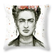 Frida Kahlo Portrait Throw Pillow