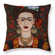 Frida Kahlo With Butterflies Throw Pillow