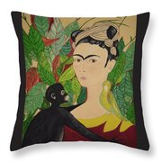 Frida With Monkey And Bird Throw Pillow
