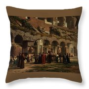 Friday At The Colosseum In Rome Amerigo Y Aparici  Francisco Javier Throw Pillow