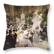 Friday At The Salon Throw Pillow by Jules Alexandre Grun