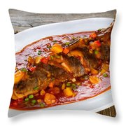 Fried Whole Fish In Sauce With Fruit And Vegetables In White Ser Throw Pillow