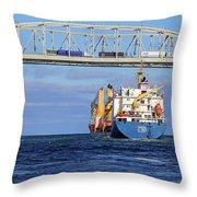 Frieda And Blue Water Bridge Throw Pillow