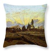 Friedrich Caspar David Neubrandenburg In Flames Throw Pillow