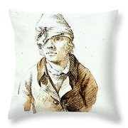 Friedrich Caspar David Self Portrait With Cap And Sighting Eye Shield Throw Pillow