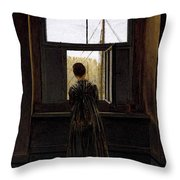 Friedrich Caspar David Woman At A Window Throw Pillow