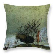 Friedrich Caspar David Wreck By The Sea Throw Pillow