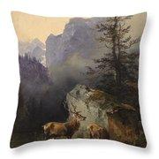 Friedrich Gauermann  Red Deer At The Watering Hole Throw Pillow