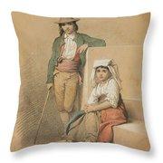 Friedrich Gonne  Two Italian Youths Throw Pillow