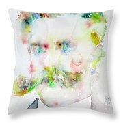 Friedrich Nietzsche - Watercolor Portrait.7 Throw Pillow